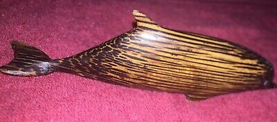 "Mexican Wooden Dolphin Statue 4 3/4""Hand Made Native Carved Wood Vintage Decor"