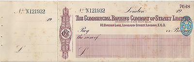 The Commercial Banking Company of Sydney Ltd London branch cheque, 2d stamp duty
