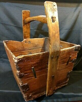 Antique Chinese Wooden Rice Bucket Dovetailed Joints Square Nails Forged Braces!