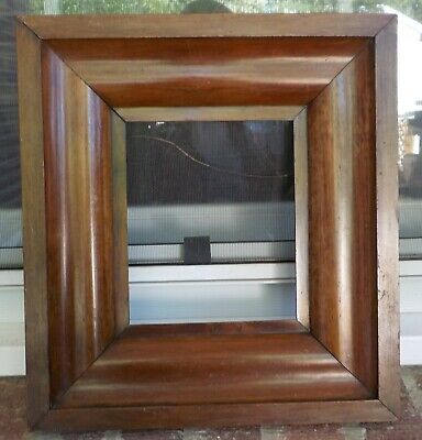 Antique FEDERAL Ogee Small Miniature Veneer WOOD Frame 6 1/8 x 7 1/4 in.fit 1850