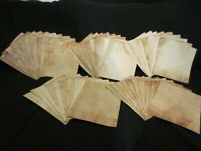 Lot of 50 Tea/Coffee Hand Dyed Papers, Plain - Junk Journal Mixed Media L398