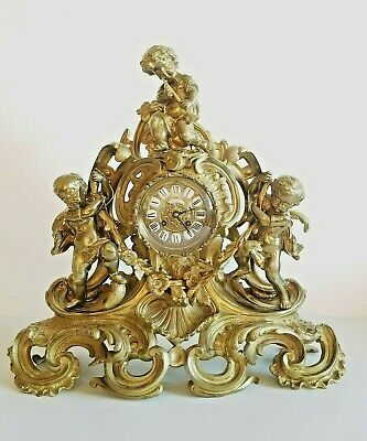 Large 19C French Napoleon III Gilt Bronze Figural Mantel Clock