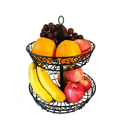 2-Tier Countertop Fruit Basket Stand Metal Wire Organizer Vegetable Caddy USA