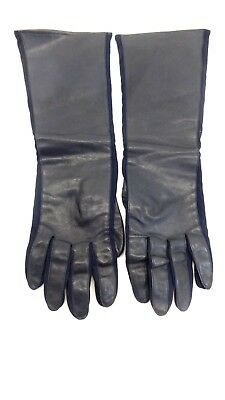 Vintage Kayser-Roth 1958 Womens Long Black Leather Gloves Size S Japan