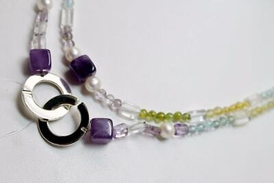 """~MGJ~Sterling 50"""" AMETHYST, CITRINE, Blue Topaz, Peridot, Crystals, FW Pearks NK"""