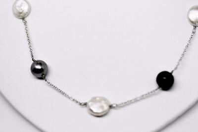 ~MGJ~Sterling BLACK PEARLS, WHITE COIN PEARLS & ONYX C093-18S