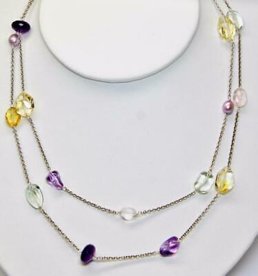"""~MGJ~ Sterling 40"""" MAUVE FW PEARLS, PURPLE & GREEN AMETHYST, & CITRINE _NECKLACE"""