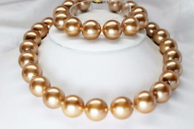 ~MGJ~ SET 14K Yellow Gold Genuine Champagne Shell Pearl 16mm NECKLACE-BRACELET