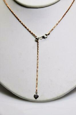 """~MGJ~ Sterling w-14KT ROSE Gold Overlay Diamond Cut Adjustable to 20"""" CHAIN"""