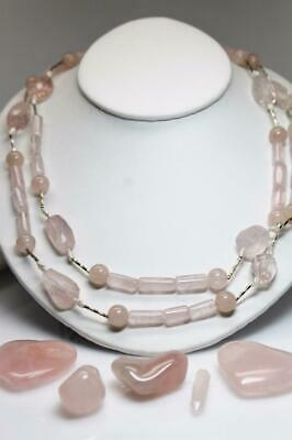 """~MGJ~ Sterling Rose Quartz & Rice Pearls w-Twists Tube Beads 45"""" LONG Necklace"""