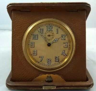 Swiss Made Folding Travel Clock Leather Cased Case Brown Vintage Antique ?
