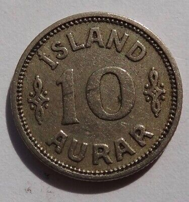 1929 Iceland 10 Aurar Coin, Key Date, Only 176K Minted