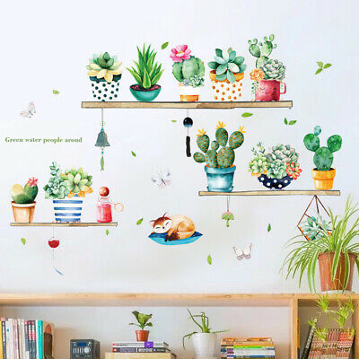 Cute Cactus Pattern Self Adhesive Wall Sticker for Living Room Bedroom Wardrobe