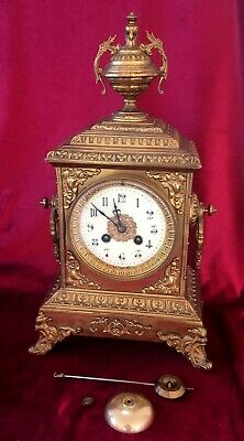Nice Quality Brass Bell Striking French Mantle Clock