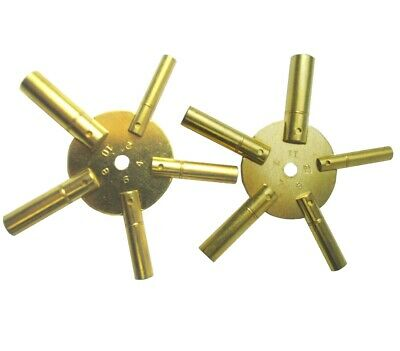 Set of 2 Brass Clock Spider Winding Keys 1x Odd 5-13 Key 1x Even 4-12 Key. J2245