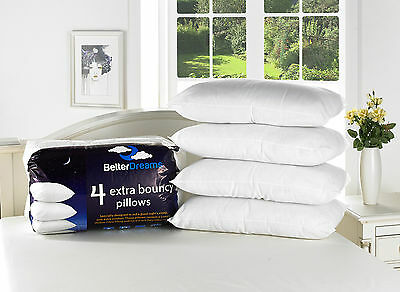 Extra Bouncy Luxury Bounce Back Pillows 2,4,6 & 8 Packs Of Better Dreams Pillows