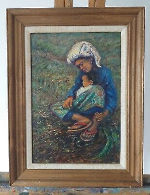 OIl Painting Portrait of Woman and Child. SE Asian.  Signed. EXHIBITED ROI 2003