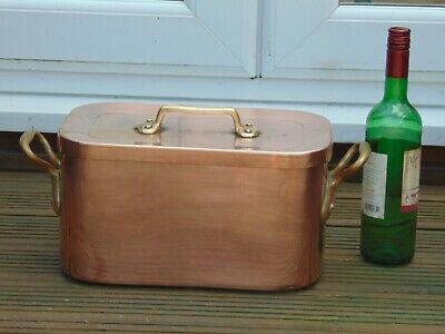 Antique French Hammered Copper Dovetailed Braising Daubiere Roasting Pan Pot