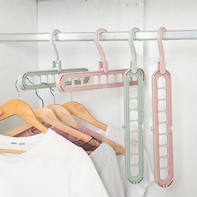 Rotate Anti-skid Folding 9 holes Hanger Portable Hanging Home Wardrobe Clothes