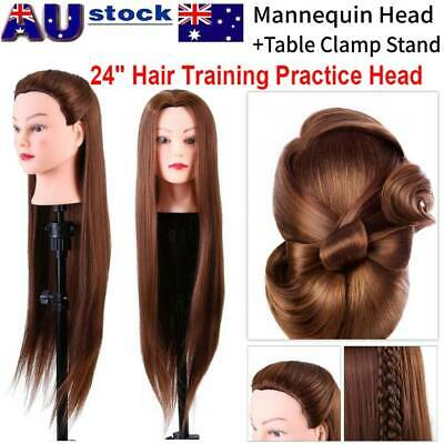 AU 24'' Long Hair Salon Hairdressing Training Head Mannequin Model W/Clamp Stand