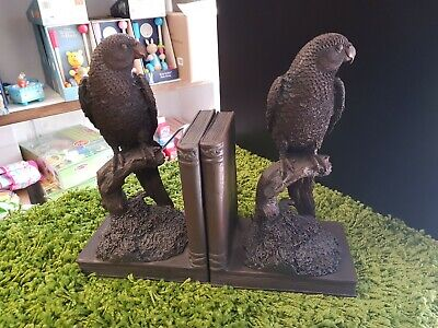 Parrot Brown, bronze bookends New
