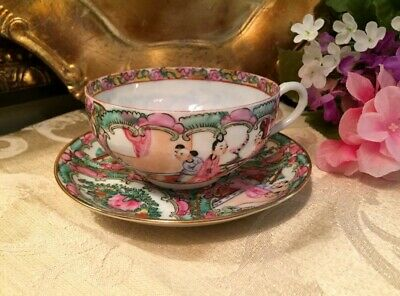 YT Japan Porcelain - Famille ROSE MEDALLION - Teacup & Saucer - Hong Kong
