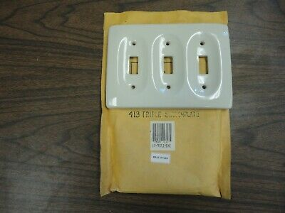 Vintage  PORCELAIN 3 Gang Outlet & Switch Plates - Different Colors - N.O.S.