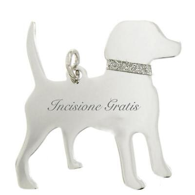 Ciondolo cane Beagle mm 31x30 in argento 925 rodiato - incisione gratis -