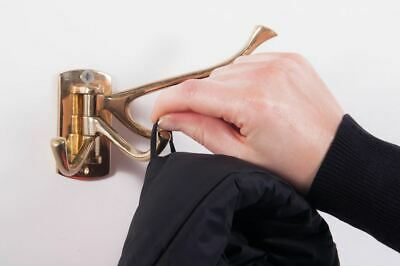 """Solid Polished Brass 3 Prong Wall Mounted """"Swivel"""" Hook Coat Hook"""
