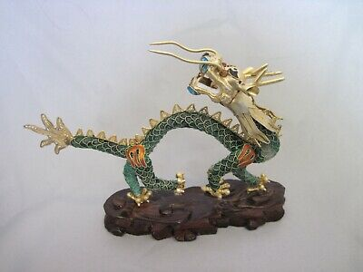 A Stunning Antique Chinese Export Silver & Enamel Filigree Dragon, circa 1920s