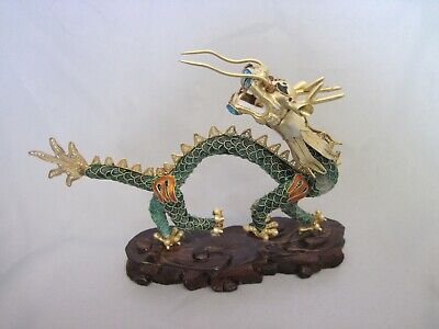 A Stunning Antique Chinese Gilt Silver & Enamel Filigree Dragon, circa 1920s