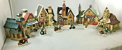 Village Christmas Stores Church School Post Office Railway Station  People New