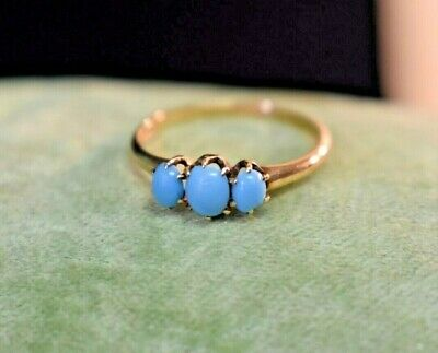 Antique Victorian 10K rose gold Blue glass 3 stone ring sz 6