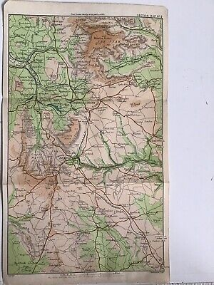 Peak District 1903 Original Antique County Map Bartholomew, Buxton Castleton