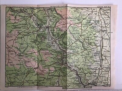 Peak District 1903 Original Antique County Map Bartholomew, Bakewell Matlock