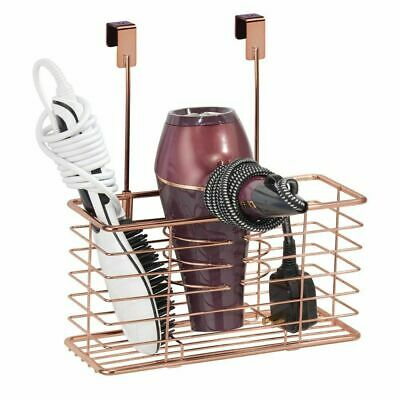 mDesign Metal Over Cabinet Door Hair Care & Styling Tool Storage Basket