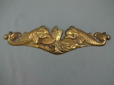 Unmarked WWII USS NAVY Solid Brass Naval Dolphin & Ship Presentation Plaque