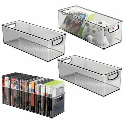 mDesign Stackable Storage Bin for DVDs, Video Games, Accessories, 4 Pack - Gray