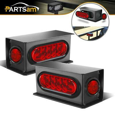 """LED Trailer Truck Steel Housing Boxes w/6"""" Oval Tail Lights & 2"""" Side Marker Red"""