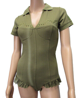 Fenty Puma By Rihanna Womens Polo Collar Bodysuit Shirt, Olive Branch, S