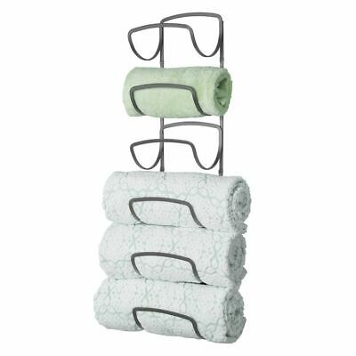 mDesign Metal Wall Mount Bathroom Towel Rack Holder, 6 Levels - Graphite Gray