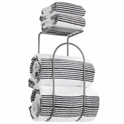 mDesign Metal Wall Mount Towel Rack Holder Organizer with Storage Shelf - Gray