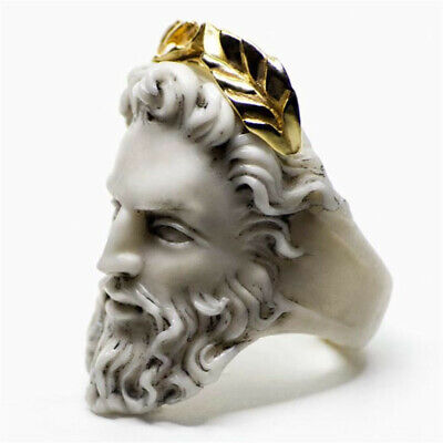 18K Yellow Gold Filled Wedding Male Portrait Sculpted Party Ring Jewelry Sz5-10