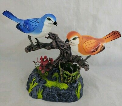 MOTION ACTIVATED CHIRPING Singing Bird Figure on a Log