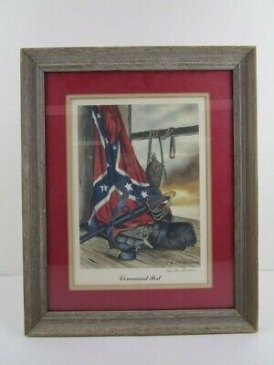 "Paul W Brown Print ""Command Post"". Confederate Print. Signed Matted and Framed"