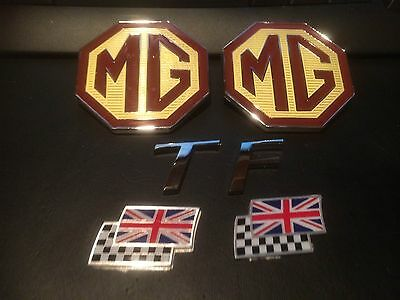 MG TF badge set front or rear large MG Badge rare 70mm TF and chequerred flags