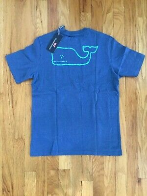 NWT Boy's Vineyard Vines Heathered Moonshine Whale Pocket T-Shirt Size M, L, XL