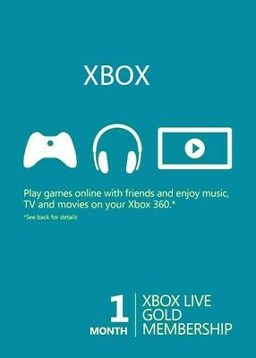 Xbox Live Gold 1 Month Membership Code, Xbox One 360, Genuine & Legal  (2x14day)