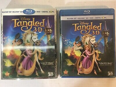 Tangled (Blu-ray/DVD 2011 4-Disc Set Includes Digital Copy 2D/3D) 3D Slipcover