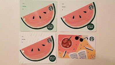 2019 Starbucks SUMMER SHADES & WATERMELON die cut set series 6168 Gift Card -USA